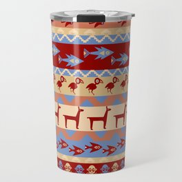 Inca Animals Fish and Birds Pattern Travel Mug