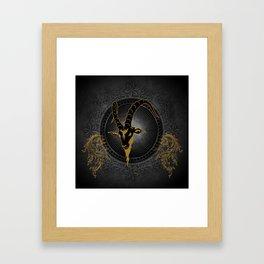 Billygoat in black and gold Framed Art Print