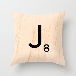 Scrabble Letter J - Large Scrabble Tiles Throw Pillow
