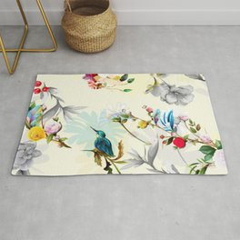 Red flowers, leaves and birds around on light yellow Rug