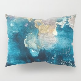 Timeless: A gorgeous, abstract mixed media piece in blue, pink, and gold by Alyssa Hamilton Art Pillow Sham