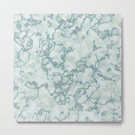 Aqua Blue and Mint Marbled Pattern Metal Print