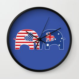 U.S.-Australia Friendship Elephants Wall Clock