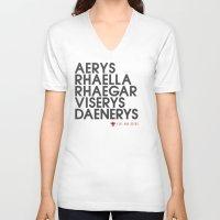 daenerys targaryen V-neck T-shirts featuring House Targaryen Typography series II  by P3RF3KT