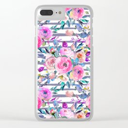 Pink mauve lilac hand painted watercolor roses floral stripes Clear iPhone Case