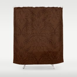 Dark Chocolate Damask Line Work Fleur de Lis Pattern Artwork Shower Curtain