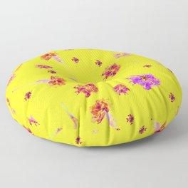 Carnations | Yellow Floor Pillow