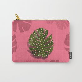 """Moss green leaf and pink flamenco polka dots"" Carry-All Pouch"