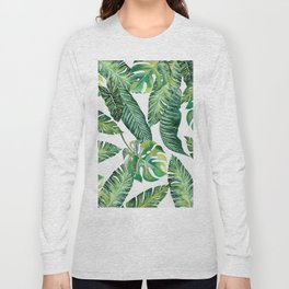 Jungle Leaves, Banana, Monstera #society6 Long Sleeve T-shirt