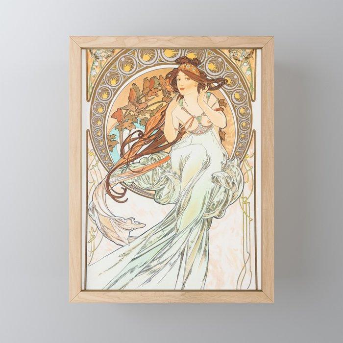 Alphonse Mucha Music Art Nouveau Framed Mini Art Print