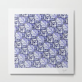 Symmetric Frog Tessellation in Blue Metal Print