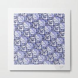 Symmetric Frog Tessellation in Blue Metal Print