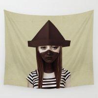 ruben Wall Tapestries featuring Ceci n'est pas un chapeau by Ruben Ireland