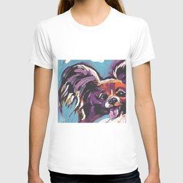 Fun Papillon portrait Dog bright colorful Pop Art T-shirt