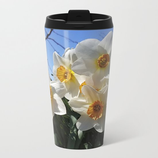 Sunny Faces of Spring - Gold and White Narcissus Flowers Metal Travel Mug