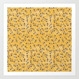 Bees on Honeycomb Art Print