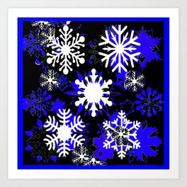 Winter Snowflakes Blue Abstract Art Print