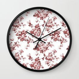 Shabby vintage coral burgundy brown roses floral Wall Clock