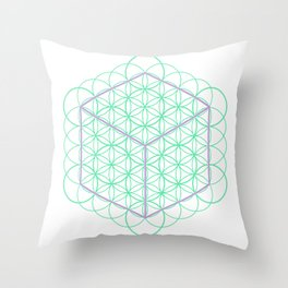 Sacred Geometry - glowing energy lines - cube and flowers Throw Pillow