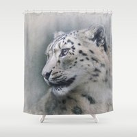 snow leopard Shower Curtains featuring Snow Leopard profile by Pauline Fowler ( Polly470 )