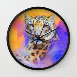 Colorful Expressions Snow Leopard Wall Clock