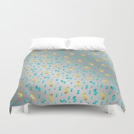gold,blue silver metal dollar Duvet Cover