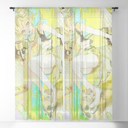 Girl And Lemon Sheer Curtain