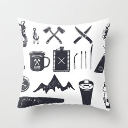 Bushcraft Icons and Hiking Symbols Throw Pillow