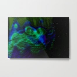 Dancing Aurora Feline Metal Print