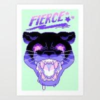 fierce Art Prints featuring FIERCE by Ginseng&Honey