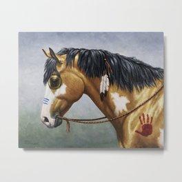 Native American Buckskin Pinto War Horse Metal Print