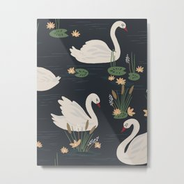 Swan Pond Dark Water Lily Pad Lotus Flowers Metal Print