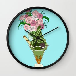 Matcha Green Tea Sundae Wall Clock