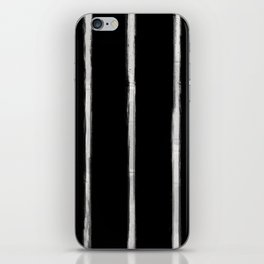Skinny Strokes Gapped Vertical Off White on Black iPhone Skin