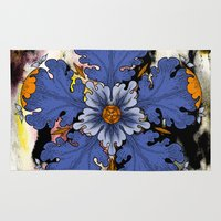 baroque Area & Throw Rugs featuring Baroque Flower by FakeFred