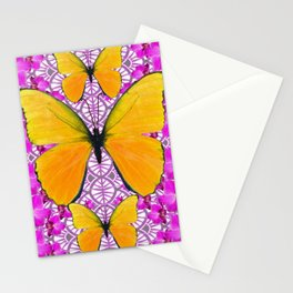 FUCHSIA COLORED  ORCHIDS &  YELLOW  BUTTERFLY FLORAL Stationery Cards