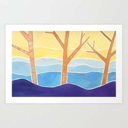Trees in Peace Watercolor Painting Art Print