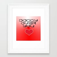 gift card Framed Art Prints featuring VALENTINES DAY CARD OR GIFT - DOTTY OVER YOU! by ©2012