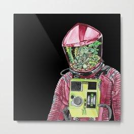 Astronaut Terrarium Metal Print