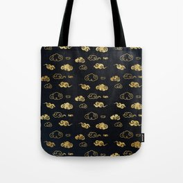 Black and Gold Asian Style Cloud Pattern Tote Bag