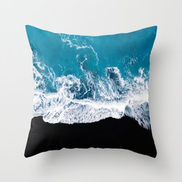 Black sand beach with waves and blue Ocean in Iceland – Minimal Photography Throw Pillow