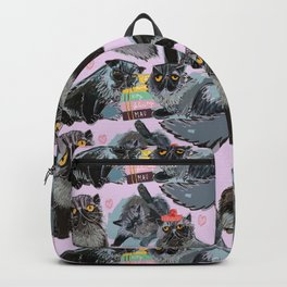 Freddy- Cat pattern in soft Pink Backpack