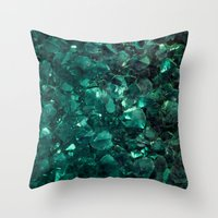 emerald Throw Pillows featuring Emerald by Lotus Effects