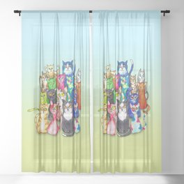 Gang of colorful cats Sheer Curtain