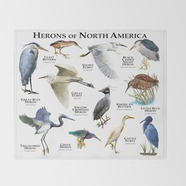 Herons of North America Throw Blanket