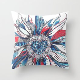 Flower Patterns on White Throw Pillow