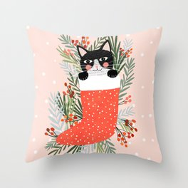 Cat on a sock. Holiday. Christmas Throw Pillow