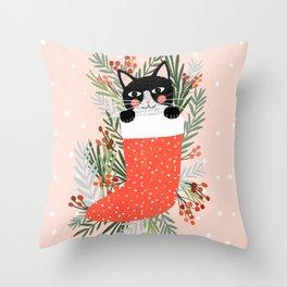 Cat on a sock. Holiday. Christmas Deko-Kissen