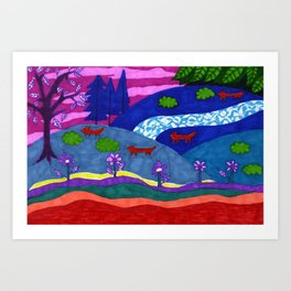Foxes on Hilltops Art Print
