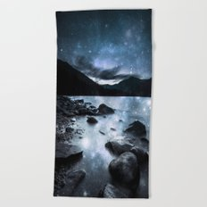 Magical Mountain Lake Steel Blue Gray Beach Towel